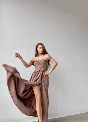 Элегантное вечернее платье макси с разрезом 🌸🔥