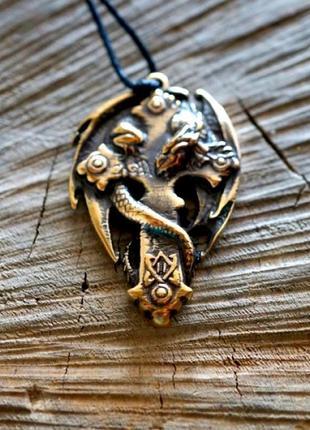 Подвеска бронзовая амулет на шнурке дракон на кресте