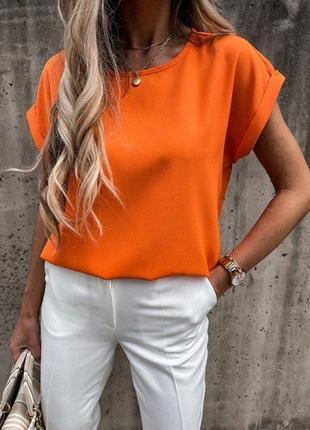 Блузка супер софт со спущенным рукавом, футболка однотонная женская