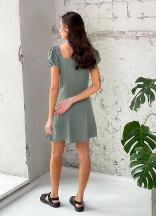 Льняное платье на пуговицах2 фото