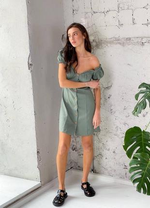 Льняное платье на пуговицах3 фото