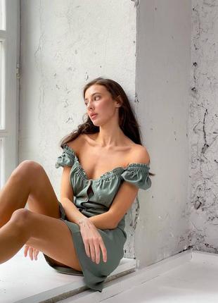 Льняное платье на пуговицах5 фото