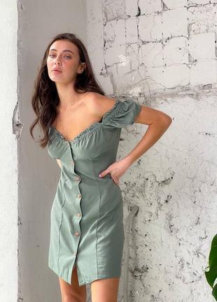 Льняное платье на пуговицах6 фото