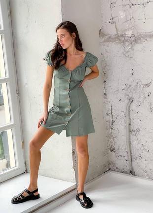Льняное платье на пуговицах7 фото
