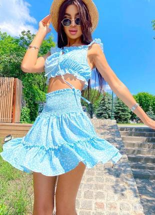 Летние костюмы в нежно-голубом цвете 🤩 топ на завязках, юбка на резинке 〰️арт. 468