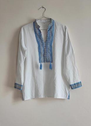 Біла вишиванка бавовняна с рукавами вышиванка белая хлопковая