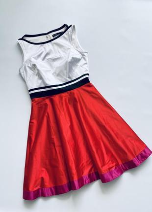 Красивое нарядное праздничное сатиновое атласное платье колор блок karen millen