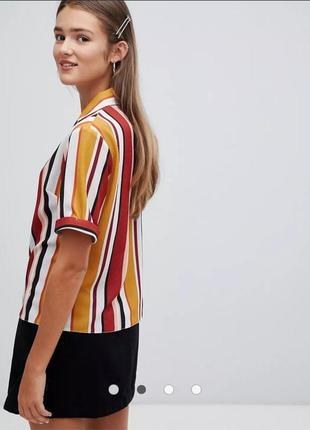 Стильная рубашка в полоску на пуговицах от new look размер m