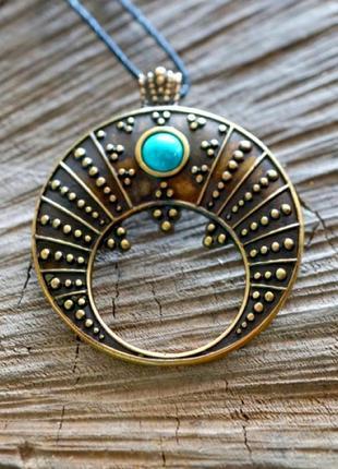 Подвеска бронзовая амулет лунница-символы предков