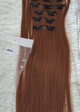 Искусственные волосы на 16 заколках, трессы 6шт