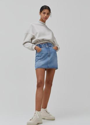 Джинсовая юбка со сборкой на поясе