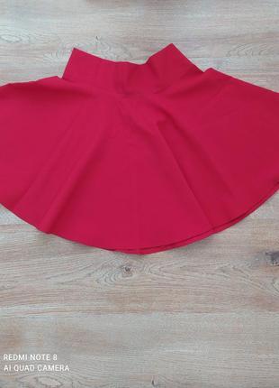 Красная юбка солнце клёш