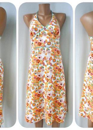 Очаровательное льняное платье, сарафан h&m (devided). размер xs/s.
