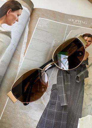 Широкие солнцезащитные очки маска овальные круглые женские стеклянные коричневые10 фото