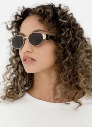 Широкие солнцезащитные очки маска овальные круглые женские/мужские стеклянные в серебряной оправе