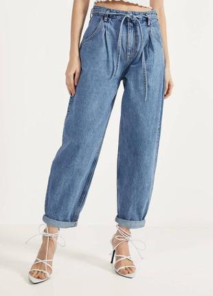 Трендовые синие джинсы balloon,широкие джинсы бананы на завышенной талии