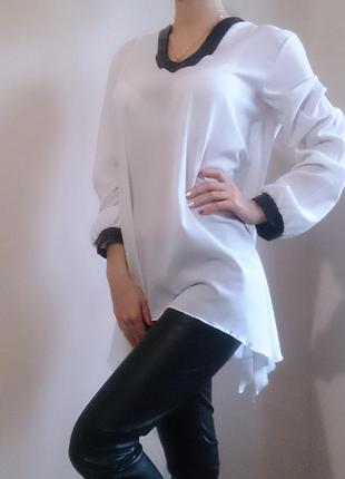 Шифоновая белая блуза с кожаными вставками большой размер exclusive