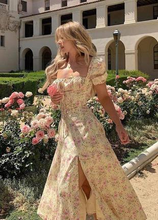 Платье бюстье в цветочек
