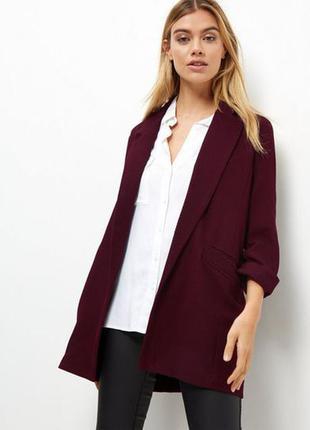 Удлинённый пиджак/ жакет цвета марсала от h&m, р.m-l