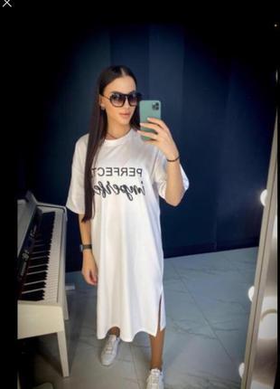 🔥стильное 🔥 платье футболка хлопок принт турция