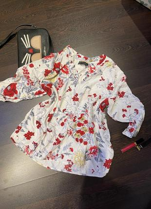 Натуральная блуза вискоза marks&spencer цветочный принт