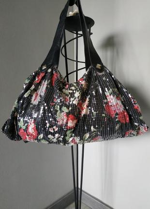 Эффектная летняя тканевая сумка с паетками