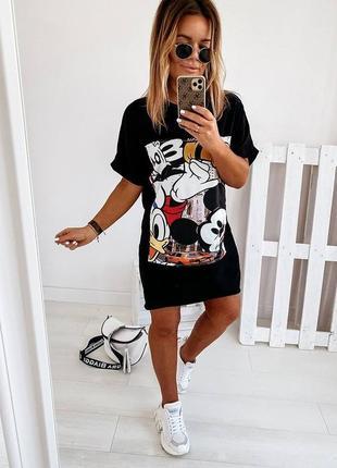 Платье футболка, длинная футболка, платье туника, черная длинная футболка (арт 100402)