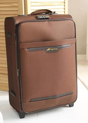Коричнева валіза golden horse чемодан коричневый