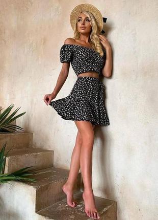Летний прогулочный костюм юбка солнце мини и топ цветочный принт миш