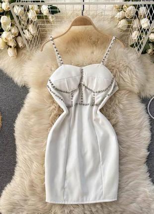 Платье со стразами, платье короткое. вечернее платье