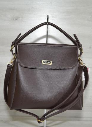 Коричневая женская сумочка саквояж матовая небольшая на плечо