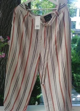 Лен свободные льняные штаны кюлоты полоска брюки бриджи батал p.22