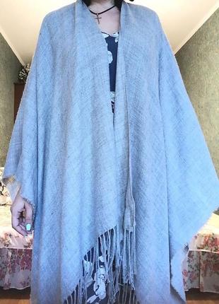 Серая голубая накидка оверсайз  пончо с бахромой  кистями этно стиль