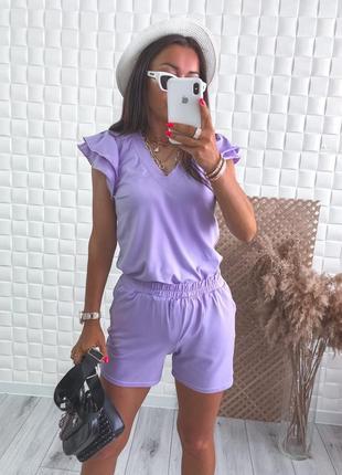 Костюм женский летний прогулочный повседневный футболка и шорты кулир