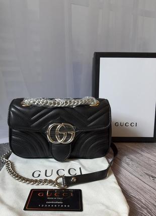 Кожаная сумка в стиле гуччи gucci - gg marmont