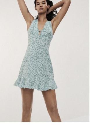 Платье в цветочный принт zara размер xs ,l,xl