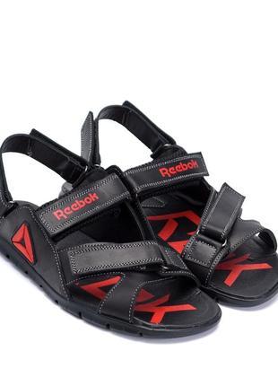 Чоловічі чорні шкіряні сандалі з анти-ковзаючою устілкою