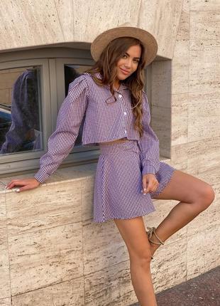 Стильный женский костюм летний в клеточку рубашка и шорты  прогулочный повседневный