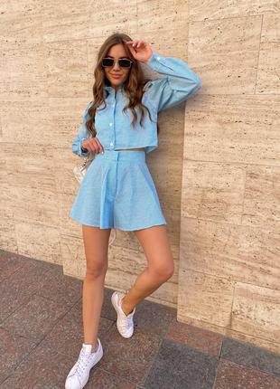 Стильный женский летний костюм в клеточку рубашка и шорты прогулочный повседневный