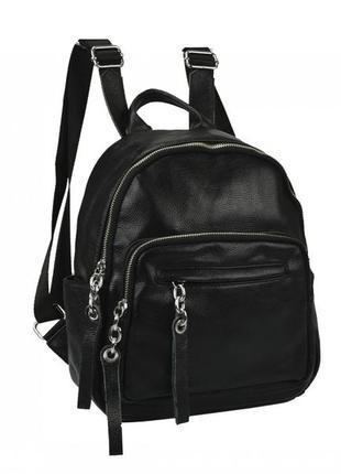 Женский рюкзак из натуральной кожи черный городской повсденевный