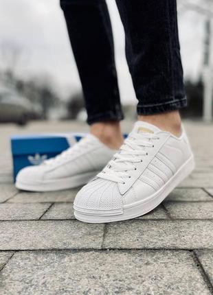 Мужские кроссовки кожаные adidas superstar, белые кеды, білі чоловічі кеди кросівки