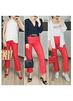Трендовые джинсы клешь укороченные джинсы красные kotton traders джинсы в сысокой посадкой
