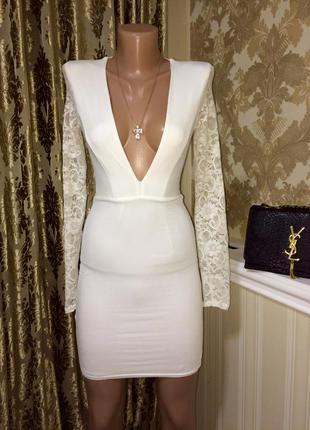 Шикарное белое брендовое платье от asos