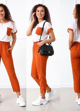 Женский летний прогулочный костюм с брюками