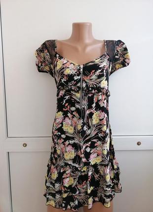 Платье женское чёрное принт короткое
