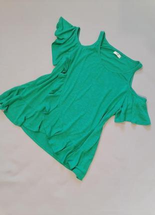 🍎футболка большой размер травяного зелёного цвета