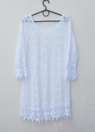 Белое кружевое летнее платье туника пляжная