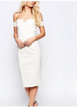 Белое платье-футляр миди paper dolls