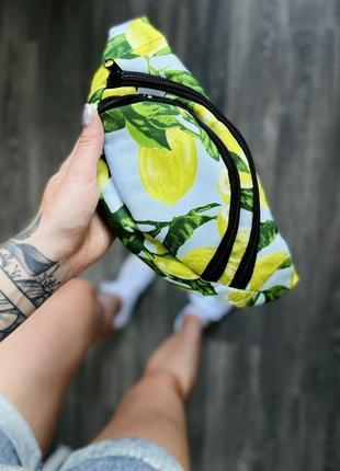 """Бананка текстильная принт """"лимоны"""""""