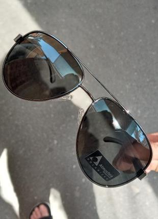 Стильные очки с поляризациейс алюминиевыми дужками на флексах антиблик atmosfera polarized